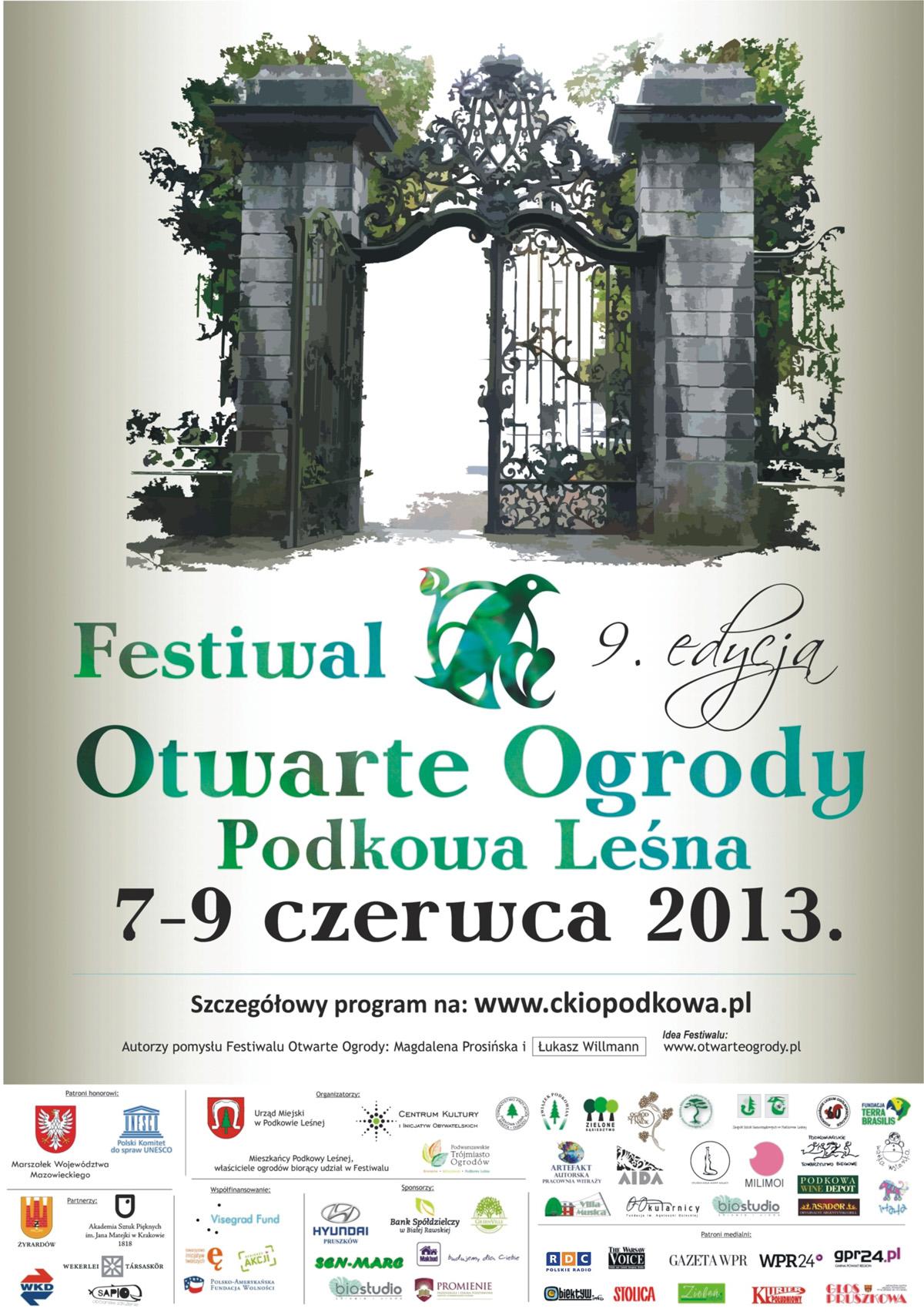 Festiwal Otwarte Ogrody 2013 – 7-9 czerwca Podkowa Leśna