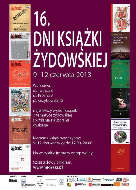 16. Dni Książki Żydowskiej 9-12 czerwca 2013