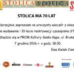 70-tka miesięcznika Stolica – 7.12.2016